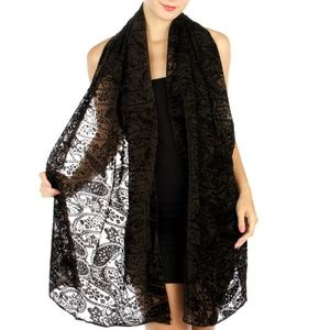Brown Paisley Burn-out Evening Wrap Shawl Scarf